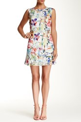 Lavand Floral Grid Sleeveless A Line Dress Multi