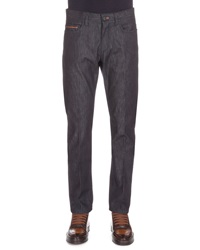 Berluti Stretch Denim Jeans With Leather Detail Indigo
