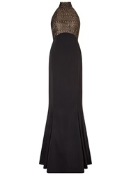Ariella Imelda Halterneck Dress Black Gold