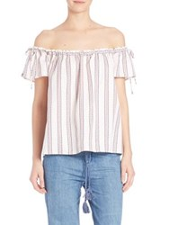 Elle Sasson Poppy Silk Off The Shoulder Blouse Ravello Red And Blue Stripe Print