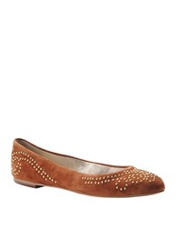 Isola Basanti Suede Studded Flats Rust