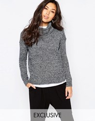 Native Youth Roll Neck Salt And Pepper Crop Sweater Navy White