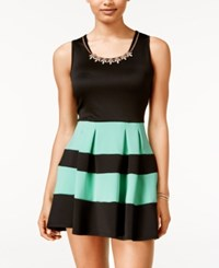 Crystal Doll Juniors' Colorblocked Necklace Fit And Flare Dress Mint Black