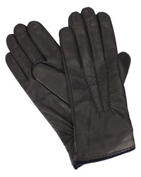 Hackett Black Leather Cashmere Lined Gloves