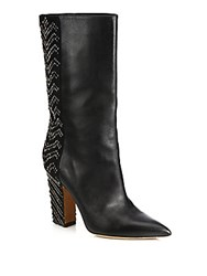 Valentino Beaded Leather And Suede Mid Calf Boots Black