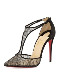 Christian Louboutin Salonu Chantilly Lace T Strap Red Sole Pump Black