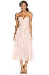 Amsale Pleat Tulle Strapless Tea Length Dress Fawn