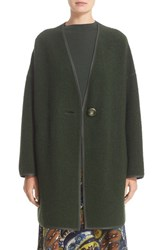 Lafayette 148 New York Women's Faux Leather Trim Wool Blend Coat Vineyard
