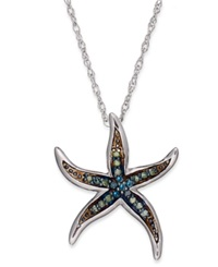 Macy's Sterling Silver Necklace Blue And Green Diamond Accent Starfish Pendant 1 10 Ct. T.W.