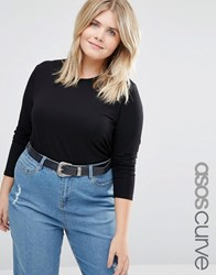 Asos Curve Long Sleeve Top With Skinny Crew Neck 2 Pack Black