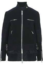 Sacai Wool And Shell Biker Jacket Black