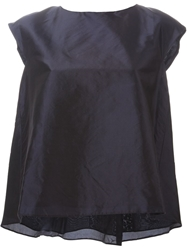 Rochas Cap Sleeve Pleated Back Top Blue