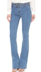 Veronica Beard Biscayne Braided High Waisted Jeans Retro Blue