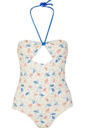 Solid And Striped Poppy Delevingne Cutout Printed Swimsuit Off White