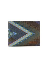 Etro Print Leather Wallet Blue Multi