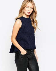 Closet Quilted Panelled Top Navy
