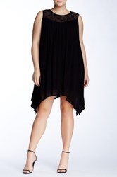 Want And Need Lace Contrast Sharkbite Tunic Plus Size Black