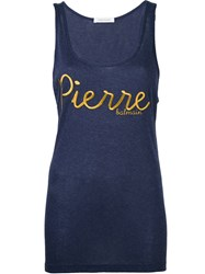 Balmain Pierre Embroidered Logo Tank Top Blue