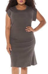Slink Jeans Plus Size Women's Cap Sleeve Knit A Line Dress Dark Grey