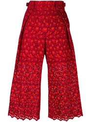 Sacai Guipure Lace Cropped Trousers Red