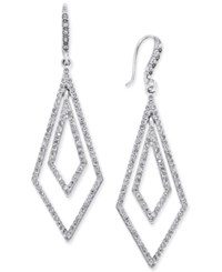 Inc International Concepts Silver Tone Geometric Pave Crystal Drop Earrings