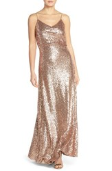 Women's Jenny Yoo 'Jules' Sequin Blouson Gown With Detachable Back Cowl