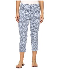 Nydj Petite Karen Capri In Printed Stretch Sateen Moorish Tile Blue Women's Casual Pants