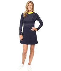 Lacoste L Ve Contrast Mock Neck Striped Fit And Flare Dress Navy Blue White Star Women's Dress