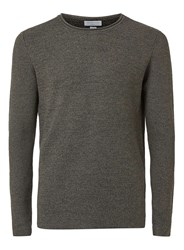Topman Selected Homme Charcoal And Green Twist Lightweight Jumper