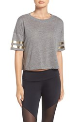 Onzie Women's 'Varsity' Crop Tee Heather Grey Gold