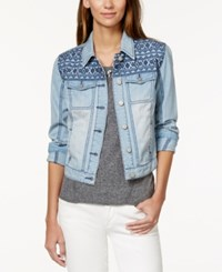 American Rag Embroidered Light Wash Denim Jacket Only At Macy's Light Blue