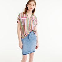 J.Crew Short Sleeve Popover Shirt In Candy Stripe
