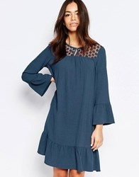 Esprit Lace Yoke Shift Dress Gray Blue