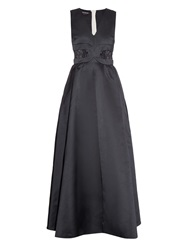 Rochas V Neck Satin And Lace Gown