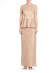 Rickie Freeman For Teri Jon Lace Peplum Gown Gold