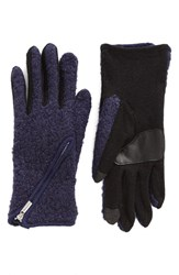 Echo Women's 'Touch Zip Boucle' Tech Gloves Navy