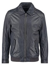 Oakwood Trading Leather Jacket Bleu Marine Dark Blue