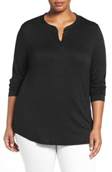 Sejour Plus Size Women's Split Neck Long Sleeve Tee Black