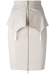 Murmur Zip Front Skirt Nude And Neutrals