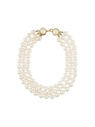 Chanel Vintage Multi Strand Faux Pearl Necklace White