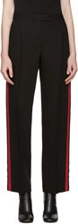 Alexander Mcqueen Black And Red Band Trousers