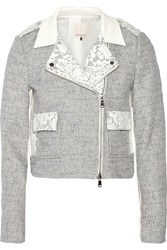 Rebecca Taylor Lace Trimmed Tweed Biker Jacket