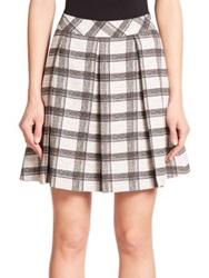 Proenza Schouler Pleated Plaid Skirt White Black