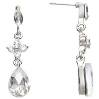 John Lewis Glass And Cubic Zirconia Drop Earrings Silver