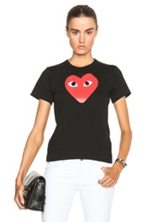 Comme Des Garcons Play Cotton Tee With Red Emblem In Black