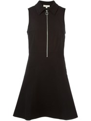 Michael Michael Kors Front Zip Flared Dress Black