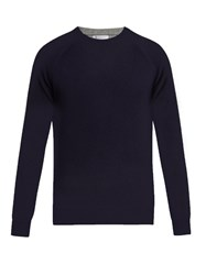 Brunello Cucinelli Wool Cashmere And Silk Blend Sweater Navy