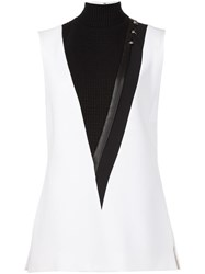 Thierry Mugler Turtleneck Sleeveless Blouse White