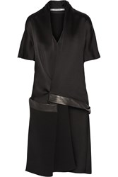 Chalayan Asymmetric Leather Trimmed Satin Crepe Top