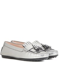 Tod's Frangia Suede And Patent Leather Loafers Silver